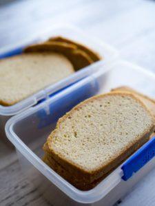 keto bread in plastic containers