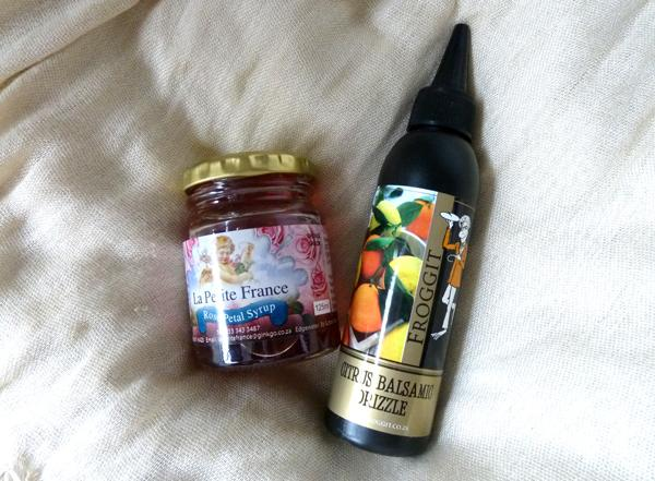 Rose petal syrup and citrus balsamic drizzle