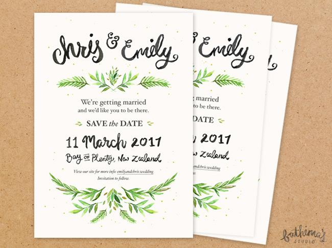 Hand lettered watercolour wedding stationery - save the date