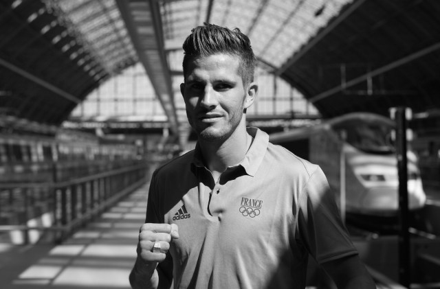 French boxer Alexis Vastine poses for a photograph at St Pancrus in London