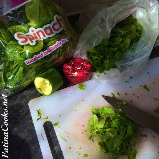 Ingredients for Pomegranate, Mint & Spinach Salad