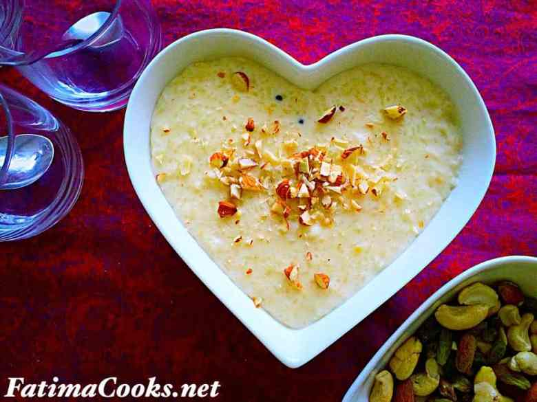 Cardamom Rice Pudding - Kheer @ fatimacooks.net