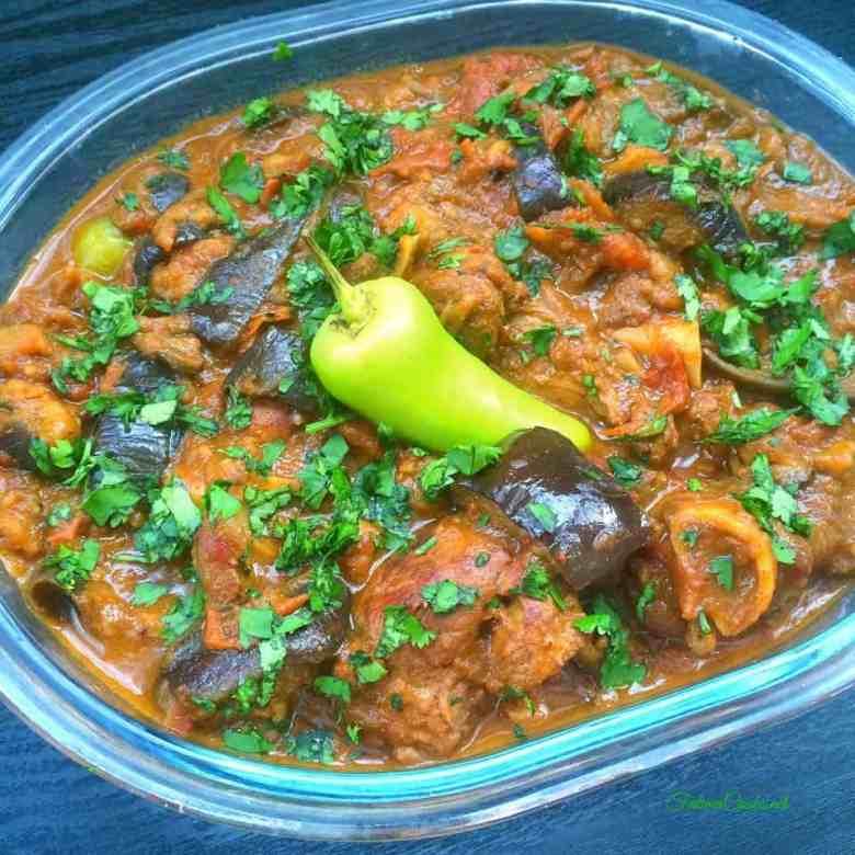Recipe in Urdu for Baingan Gosht - Lamb and Aubergine Curry