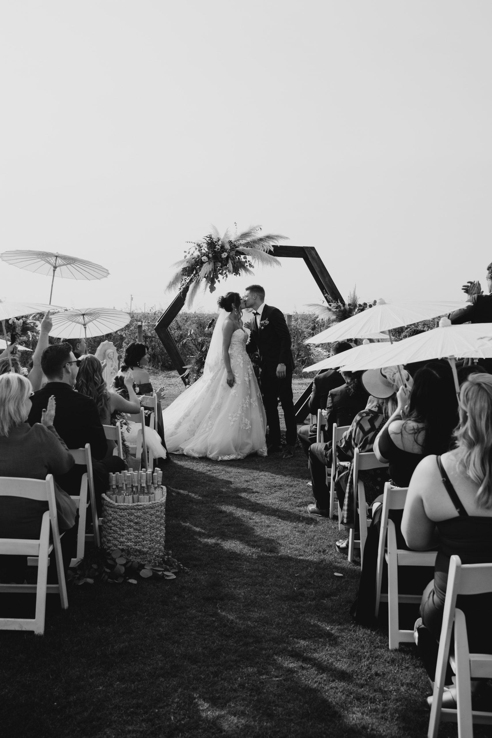 Evanelle Vineyards Wedding Ceremony, image by Fatima Elreda Photo