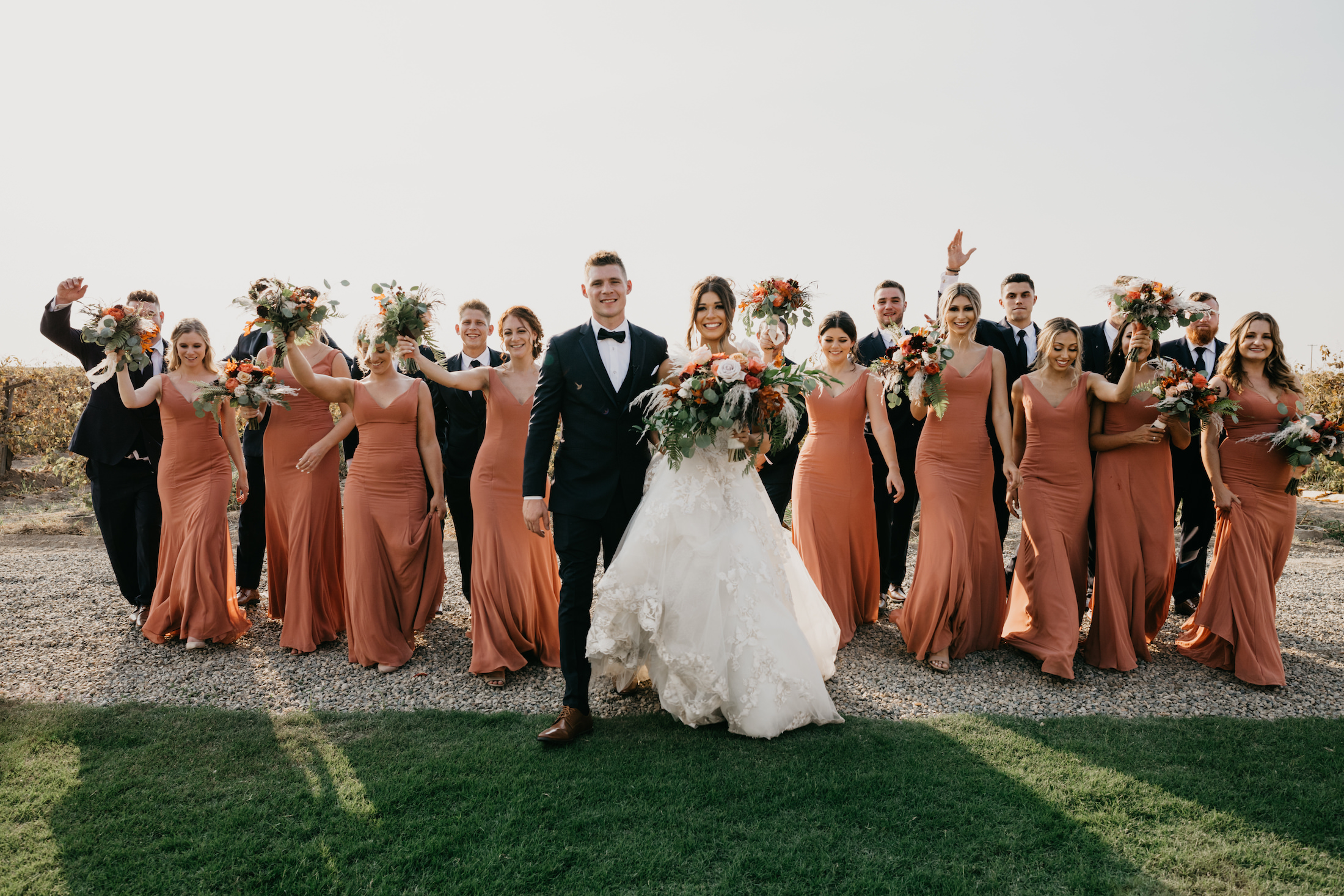 Evanelle Vineyards Wedding Bride and Groom with their Bridal Party, image by Fatima Elreda Photo