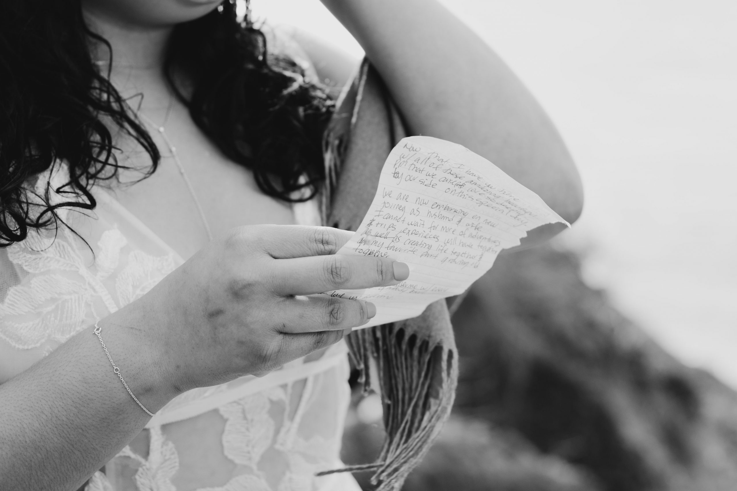 Bride reading her vows, image by Fatima Elreda Photo