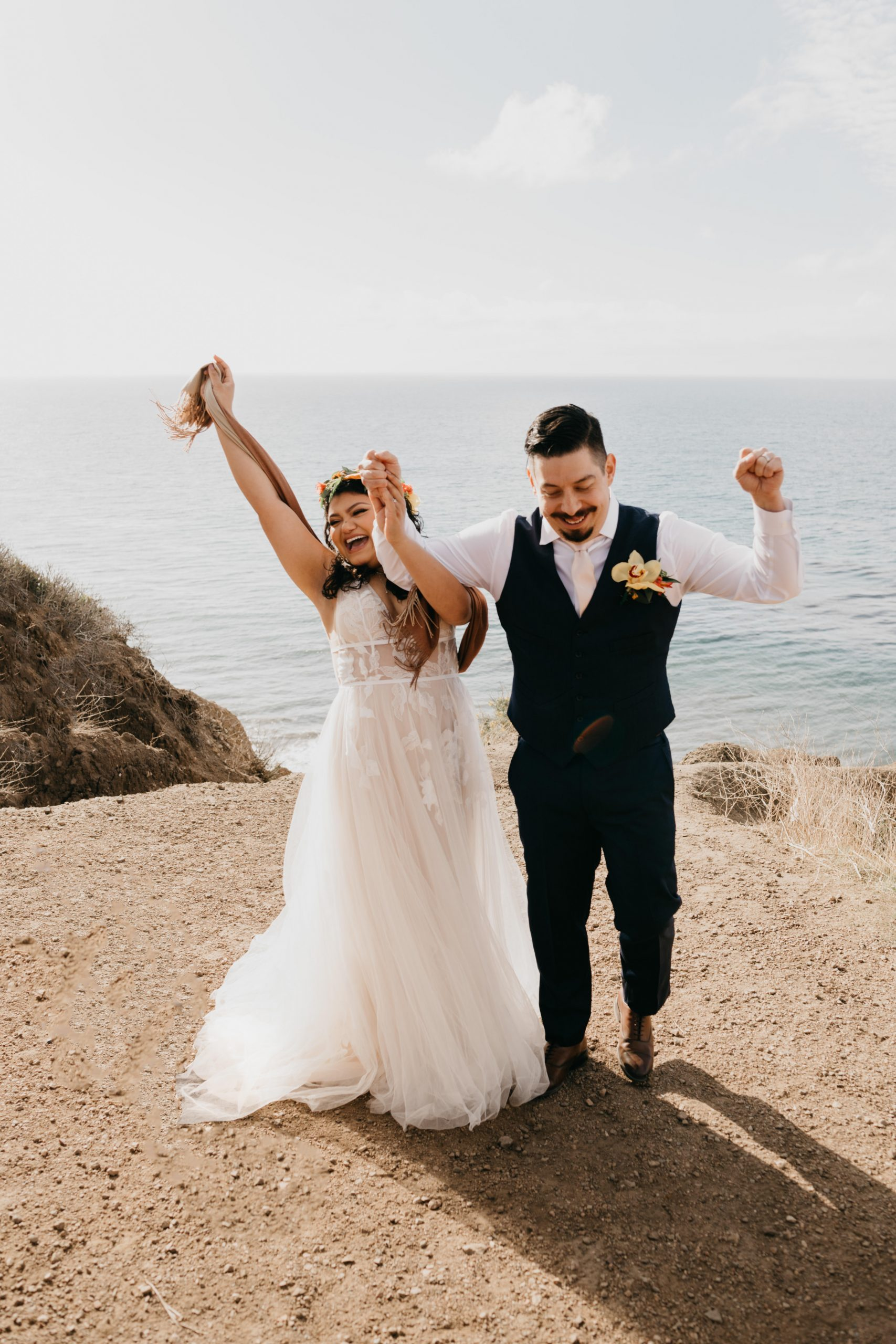 Bride and Groom in El Matador Beach Elopement, image by Fatima Elreda Photo