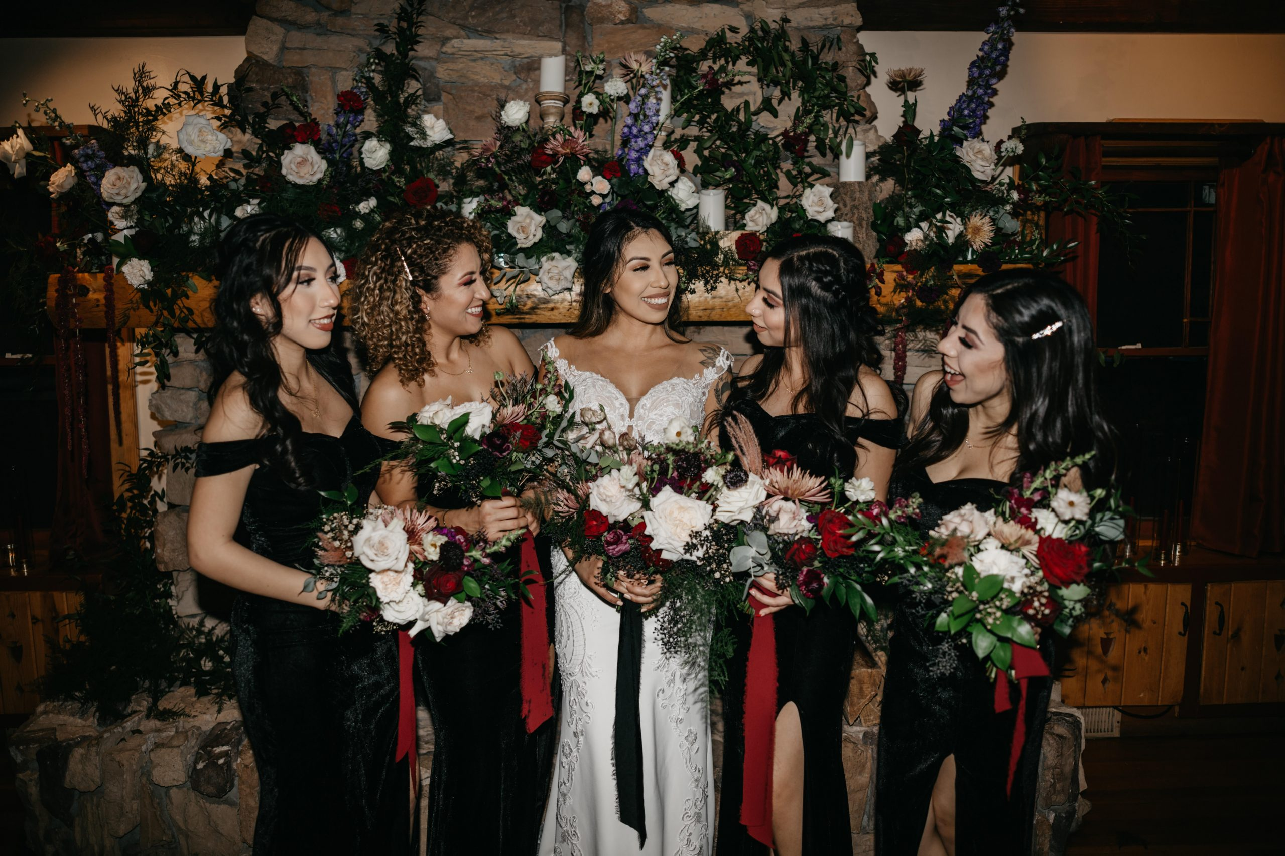 Bride and bridesmaid and their black suede dresses, Bride and groom first dance, image by Fatima Elreda Photo