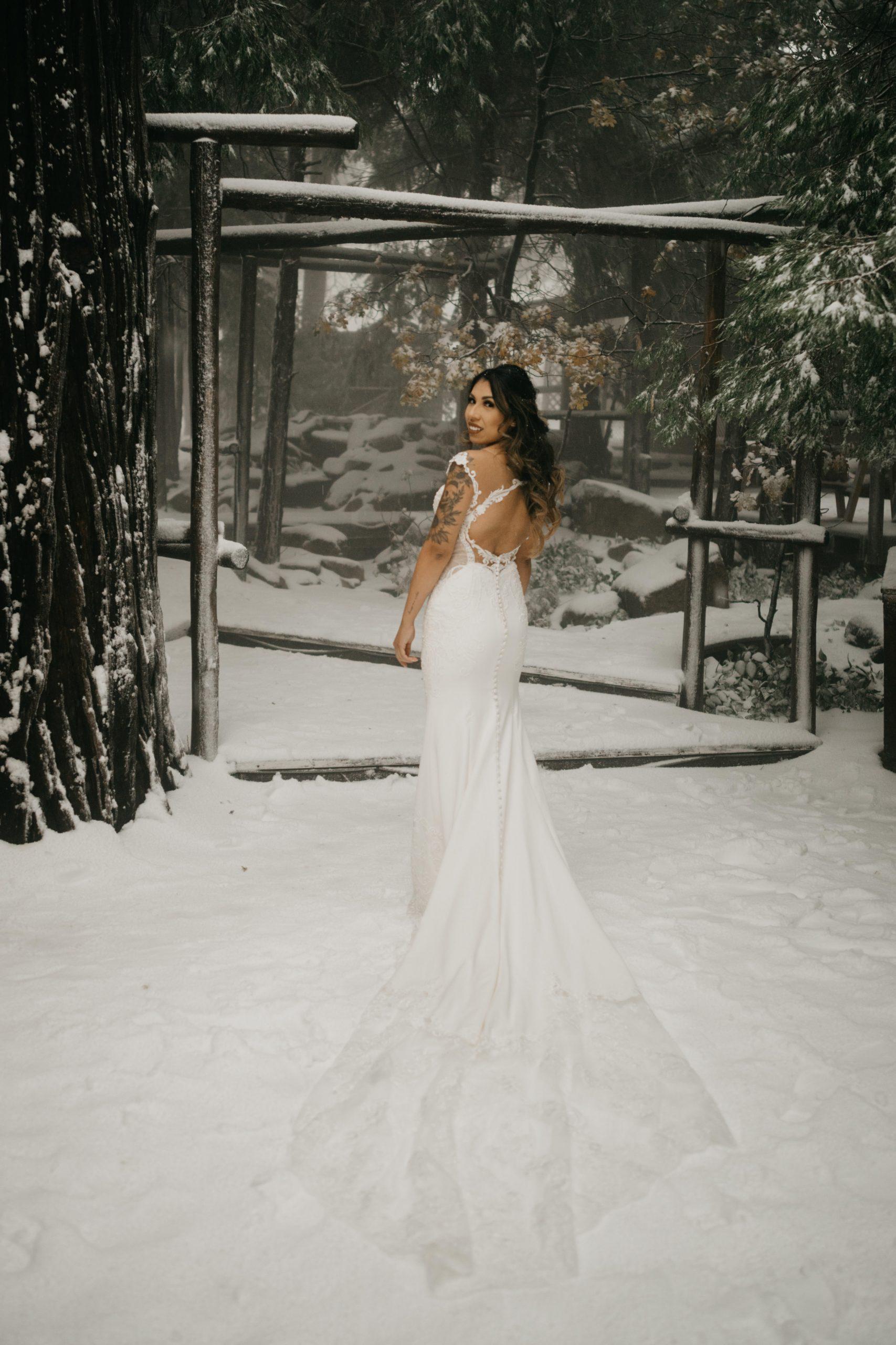 Bride portrait in the winter in Arrowhead Pine Rose Wedding, image by Fatima Elreda Photo