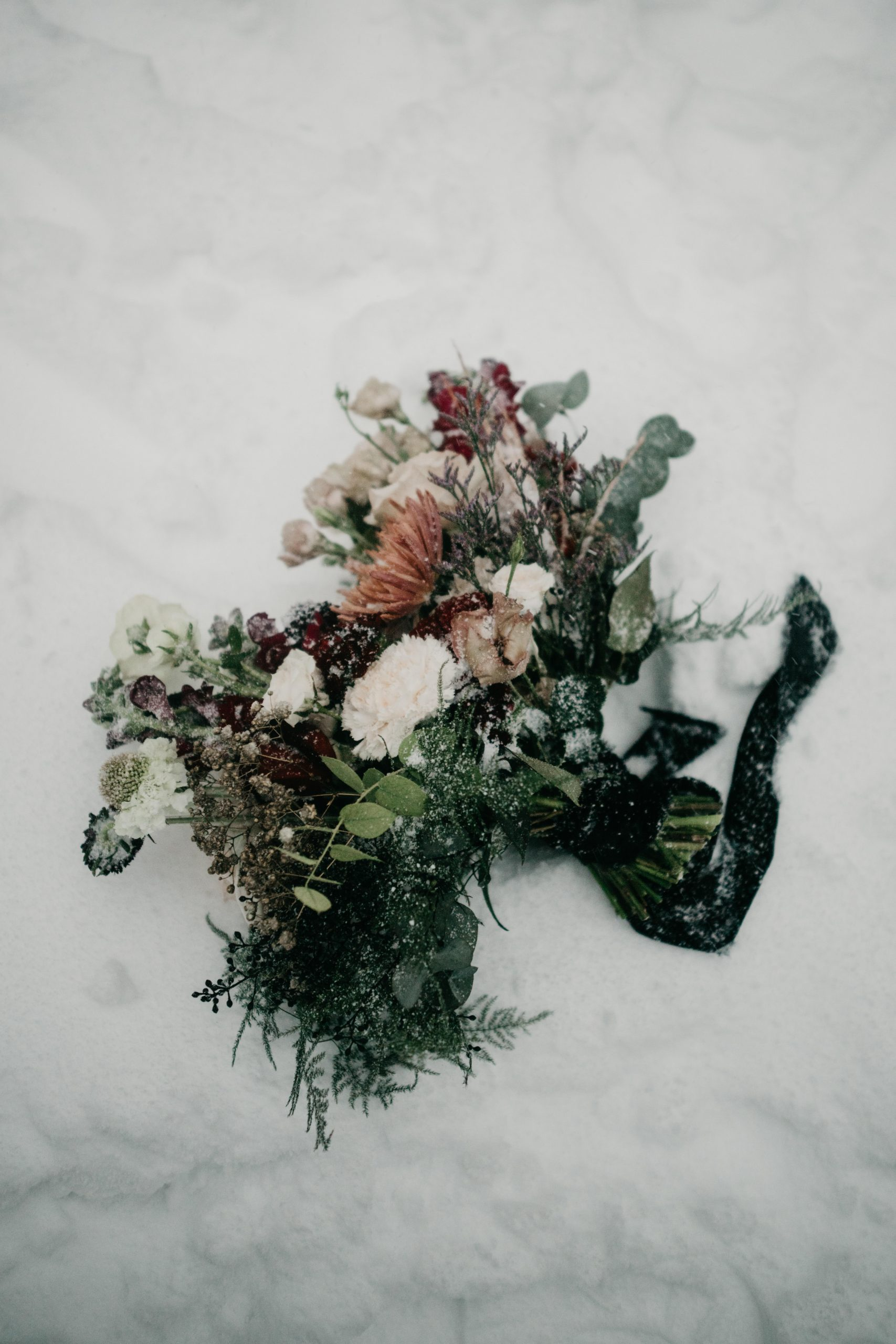 Bridal Bouquet in the snow, image by Fatima Elreda Photo