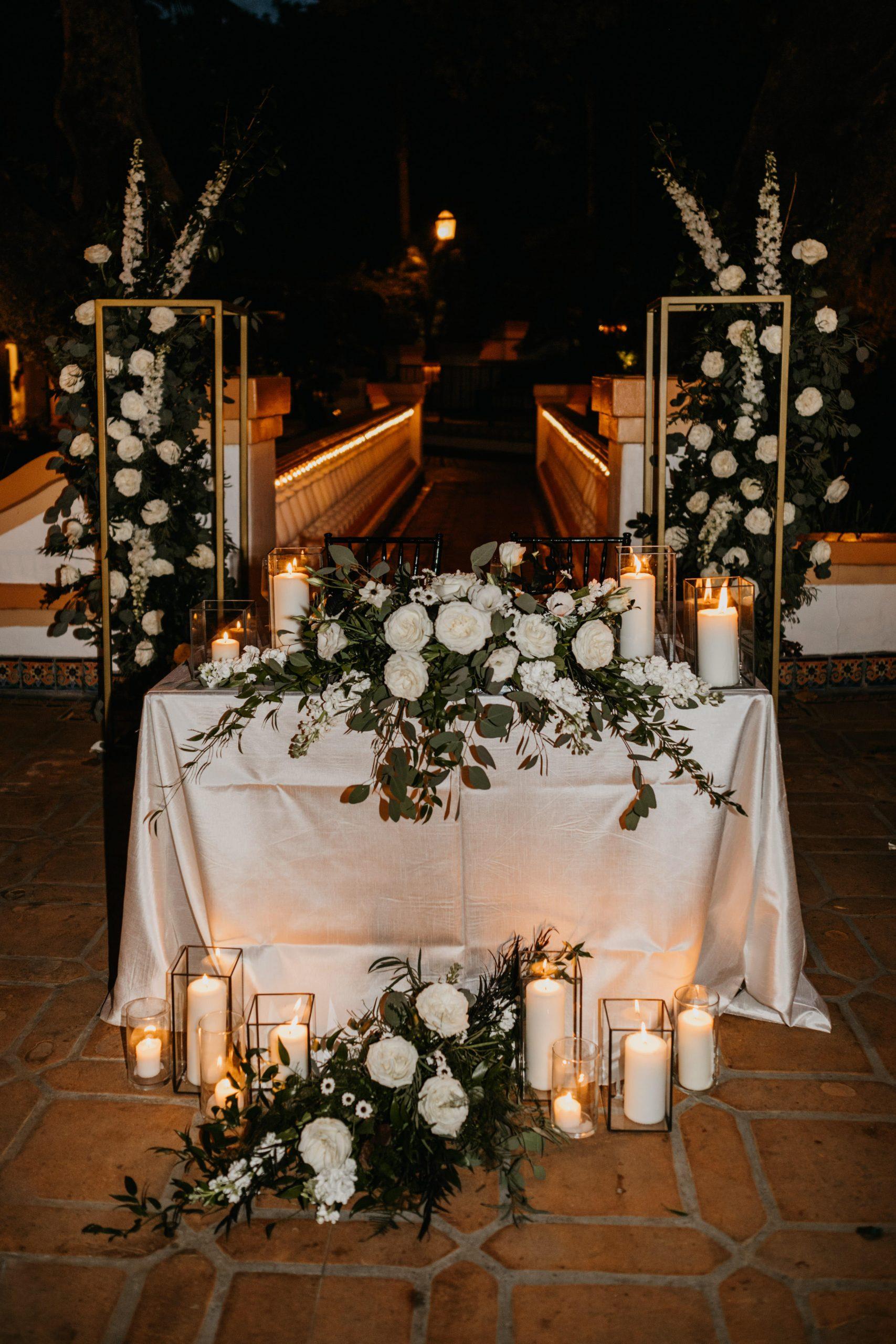 Rancho Las Lomas Wedding Reception Sweetheart Table, image by Fatima Elreda Photo