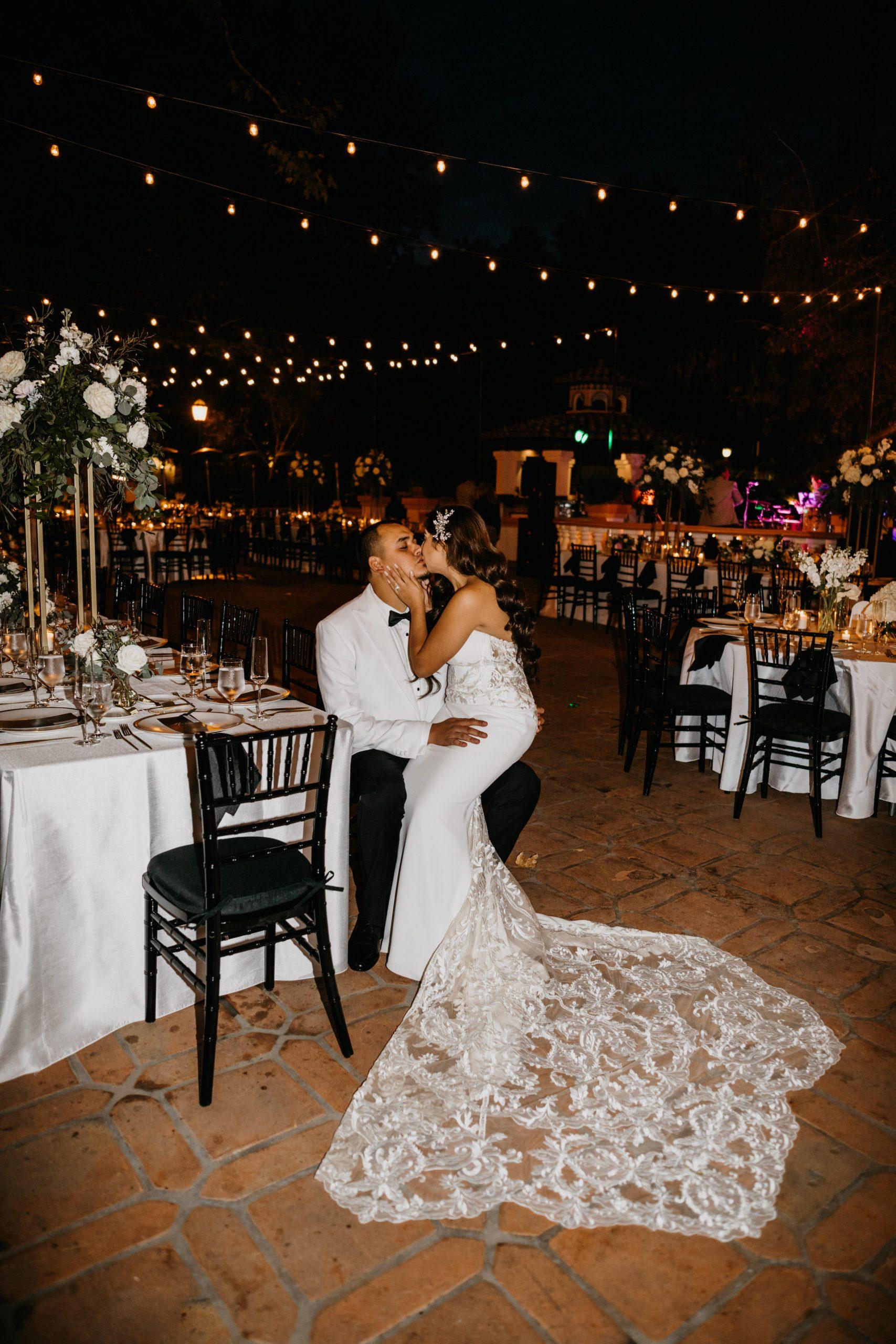 Bride and Groom Portrait at Reception in Rancho Las Lomas Wedding, image by Fatima Elreda Photo