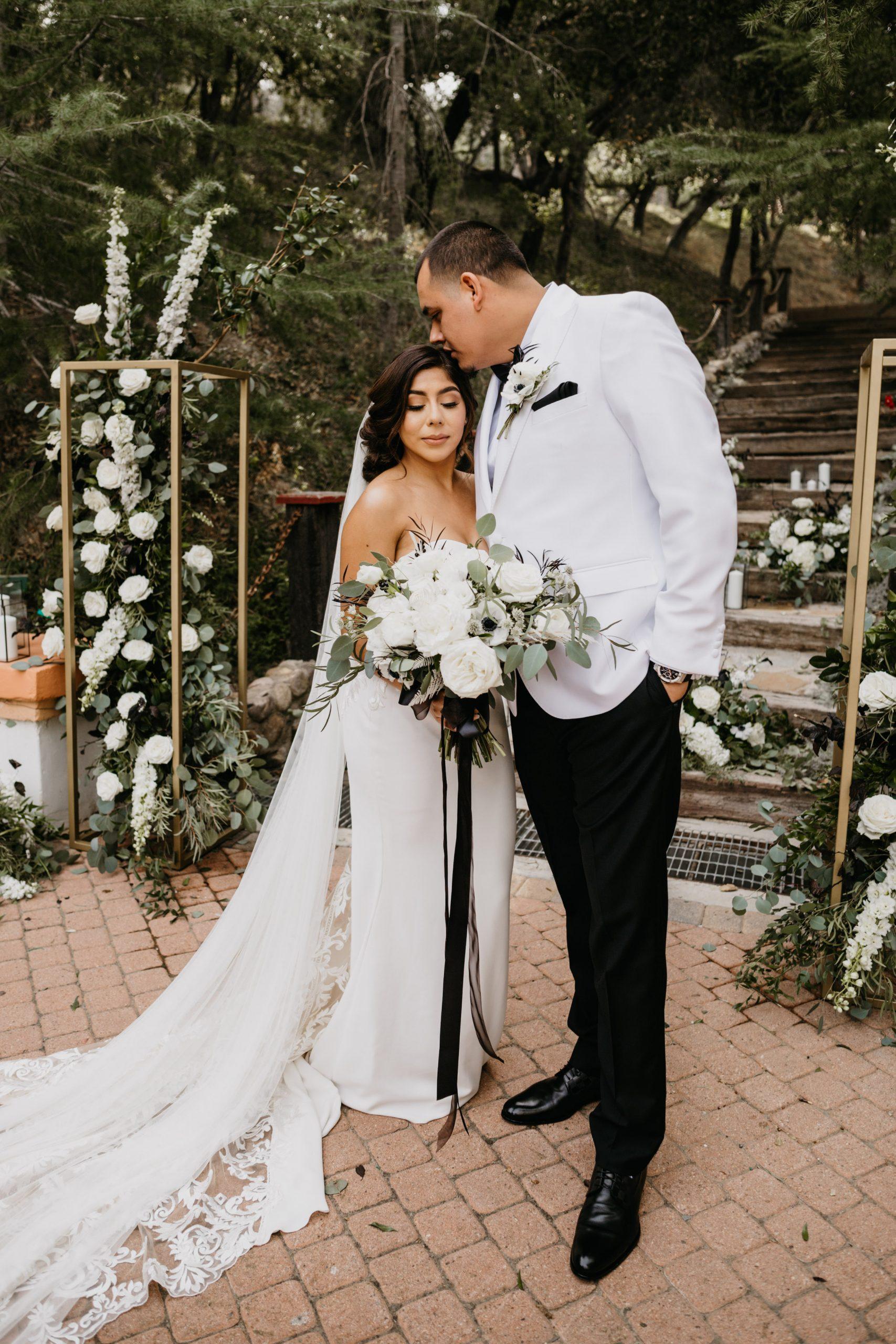 Bride and Groom Portrait in Rancho Las Lomas Wedding, image by Fatima Elreda Photo