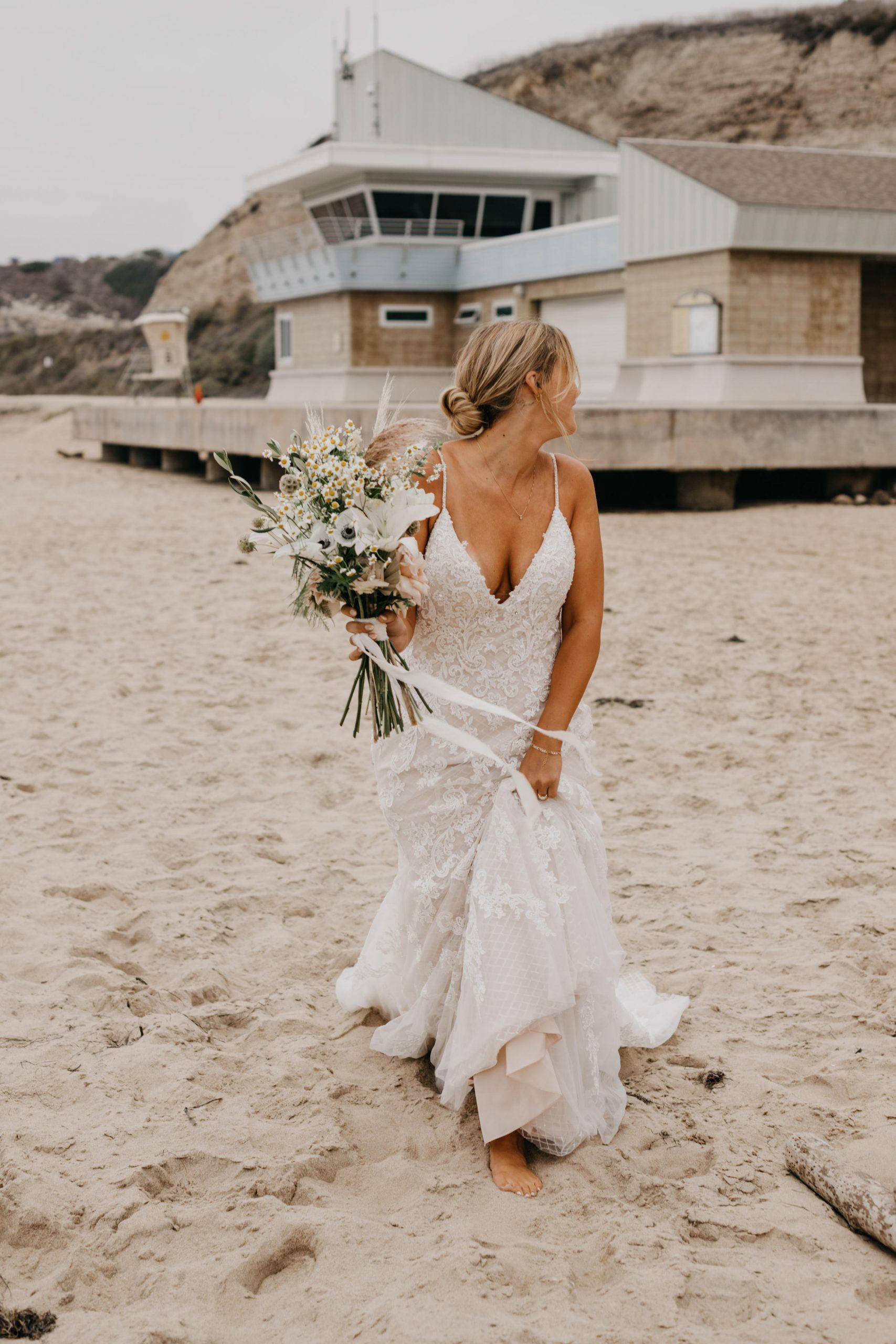 Bride in Crystal Cove State park Wedding in Laguna Beach, image by Fatima Elreda Photo