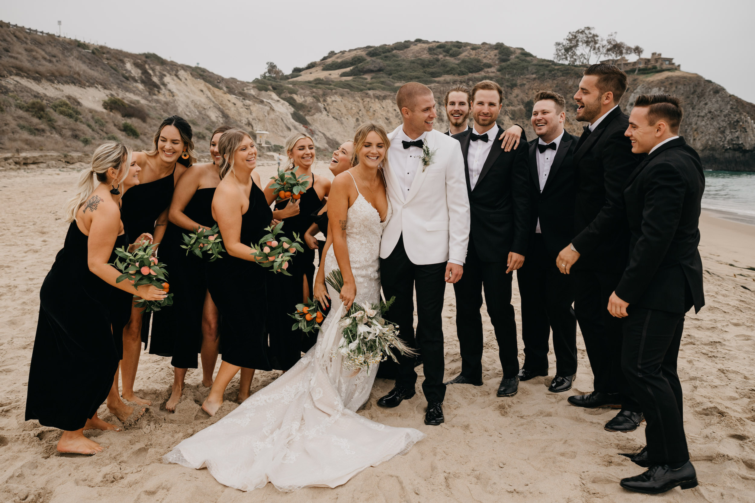 Bridal Party Photos in Crystal Cove State Park Wedding in Laguna Beach, image by Fatima Elreda Photo