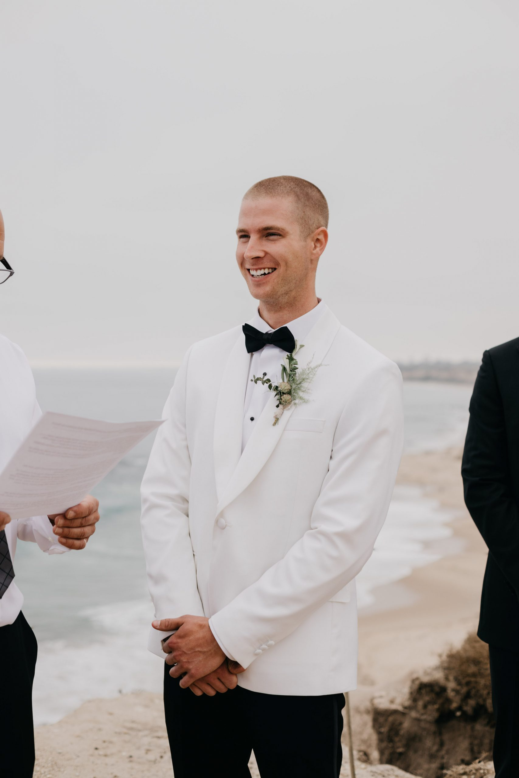 Groom in Ceremony in Crystal Cove State Park Wedding in Laguna Beach, image by Fatima Elreda Photo