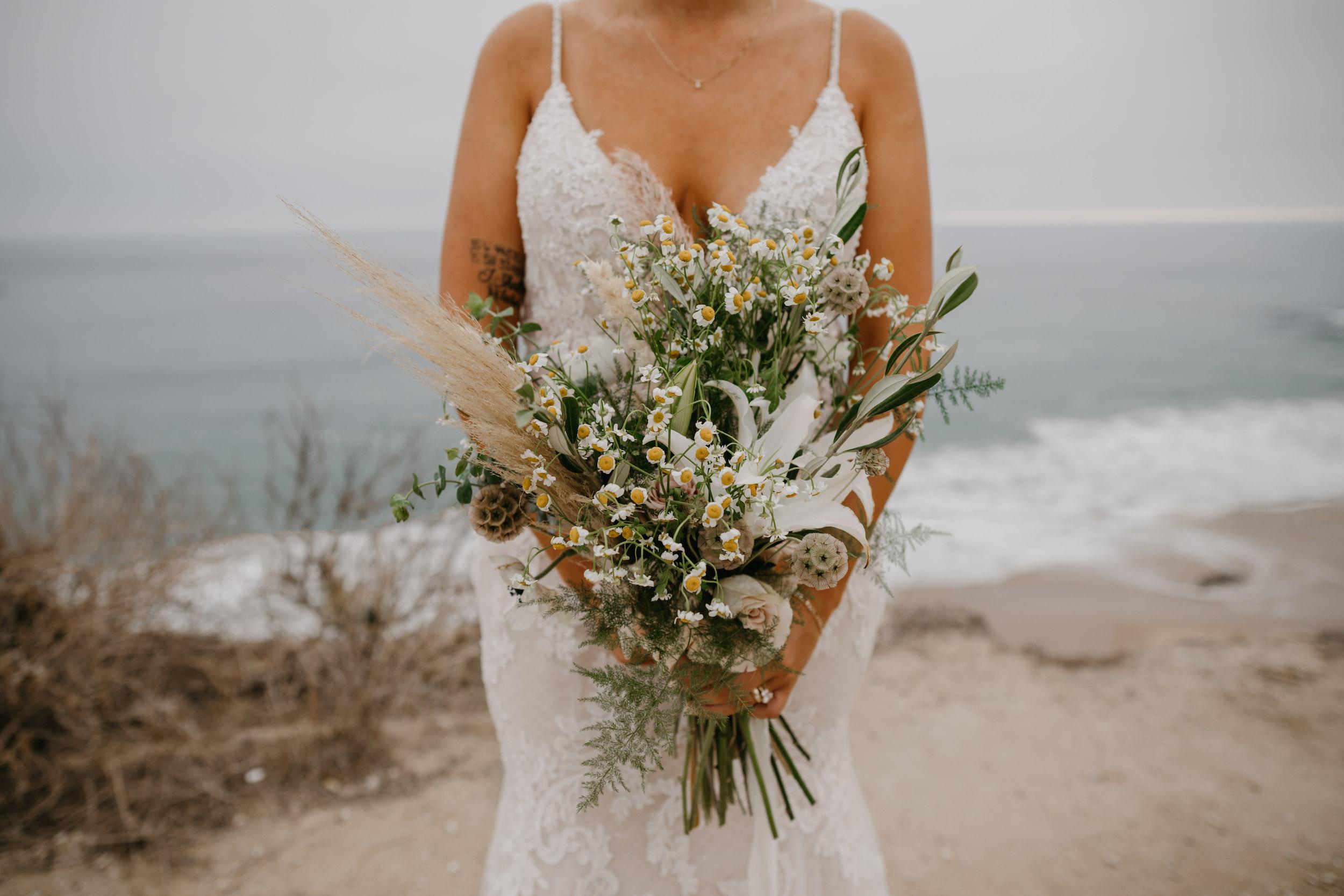 Wedding Bouquet for Beach Wedding in Crystal Cove State Park Wedding in Laguna Beach, image by Fatima Elreda Photo