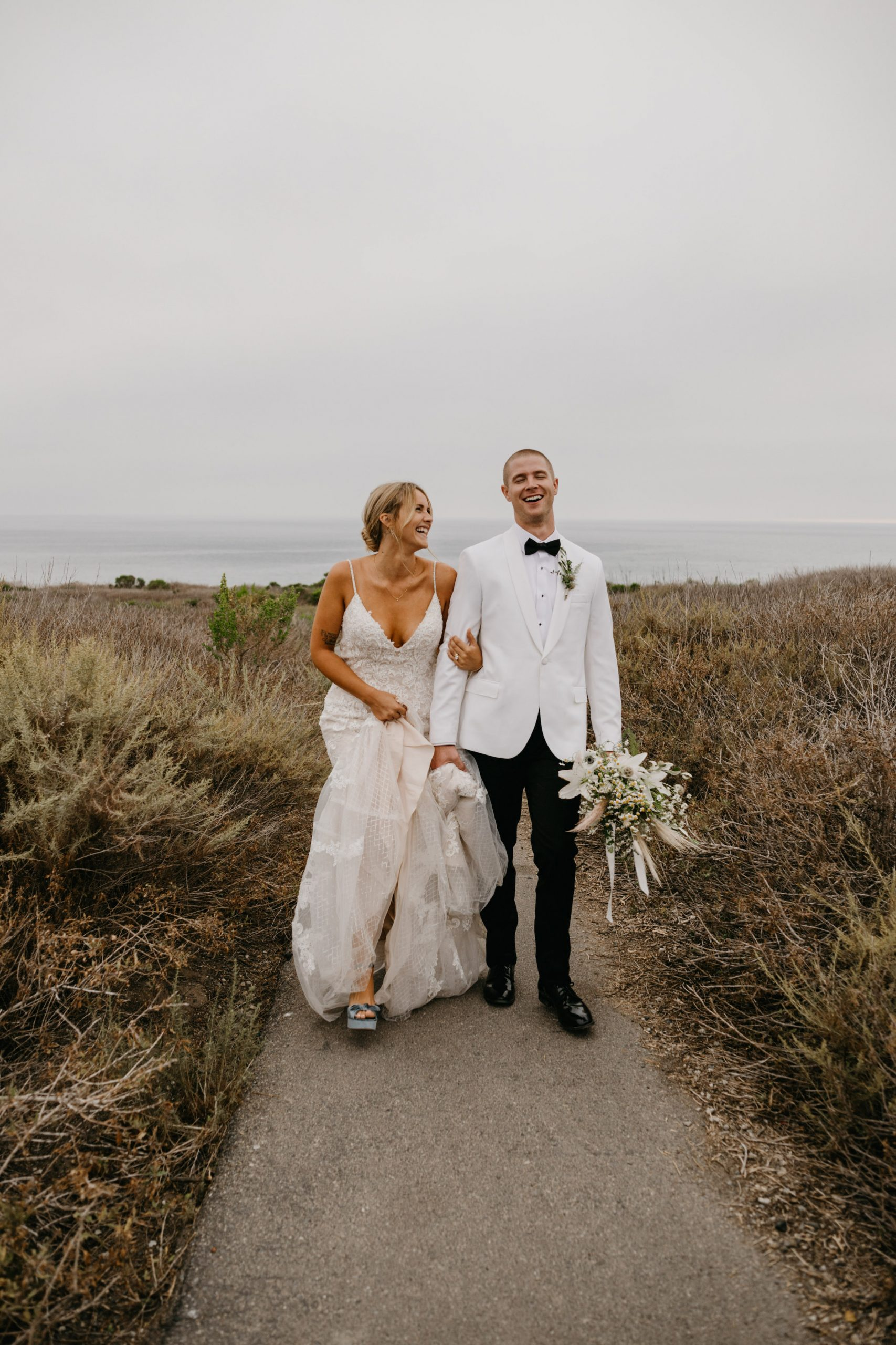 Bride and groom portrait in Crystal Cove State Park Wedding in Laguna Beach, image by Fatima Elreda Photo