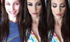 A impressionante diferença na aparência das atrizes de filmes adultos antes e depois da maquiagem