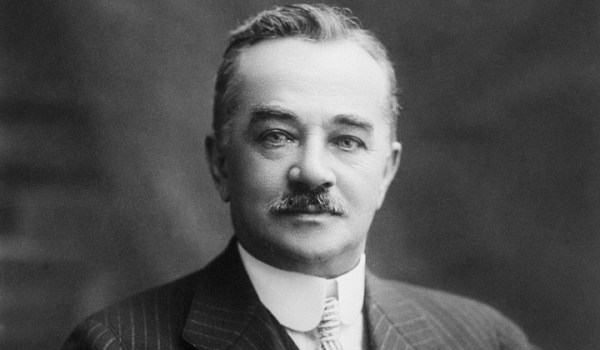 13 Nov 1923, Harrisburg, Pennsylvania, USA --- Milton Hershey founded Hershey Chocolate as well as built Hershey, Pennsylvania for his employees. He became a prominent philanthropists and gave his fortune to helping those in need. --- Image by © Bettmann/CORBIS