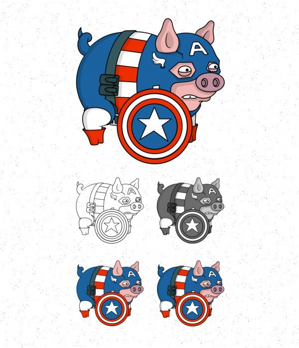 Avengers Pigs By Roni Aguiar Captain America 600x698, Fatos Desconhecidos