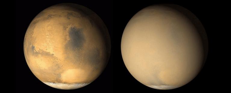 Uma tempestade de areia está devastando Marte e as imagens são impressionantes