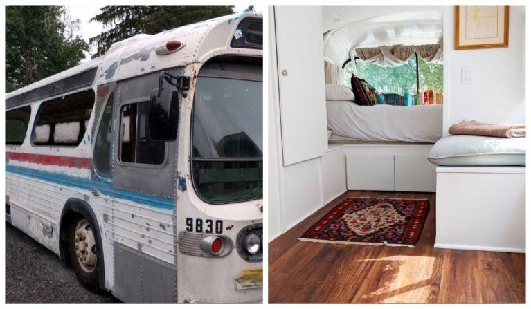 Mulher gasta mais de R$ 400 mil para transformar ônibus em uma casa minúscula e incrível