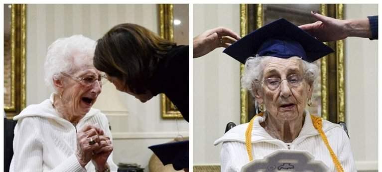 Senhora se emociona ao receber diploma de ensino médio aos 97 anos