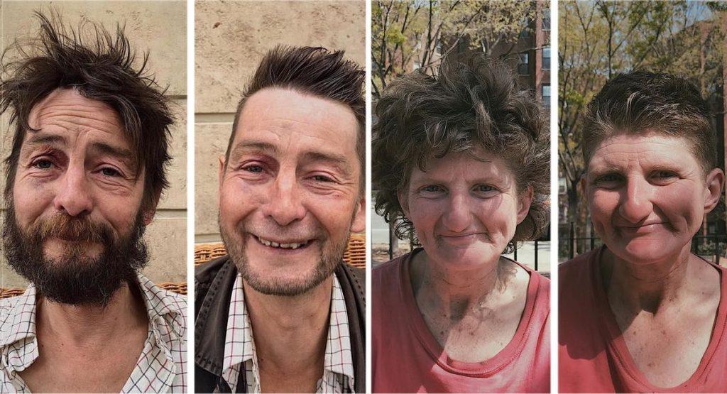 8 imagens que mostram pessoas em situação de rua antes e depois de cortarem seus cabelos