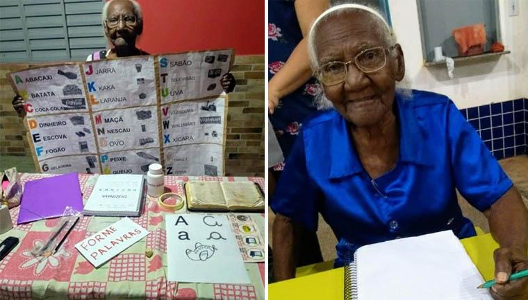 Essa senhora aprendeu a ler e escrever aos 104 anos de idade