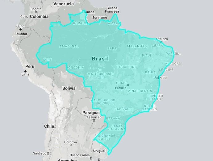 Mapa interativo mostra o tamanho real do Brasil em comparação com outros países