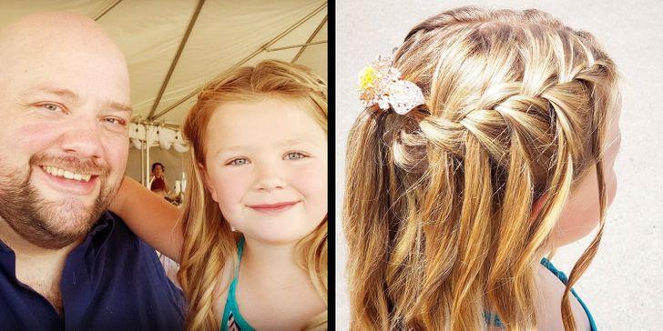 Pai solteiro aprende a fazer penteados diferentes na filha e agora ensina outros pais a fazerem o mesmo