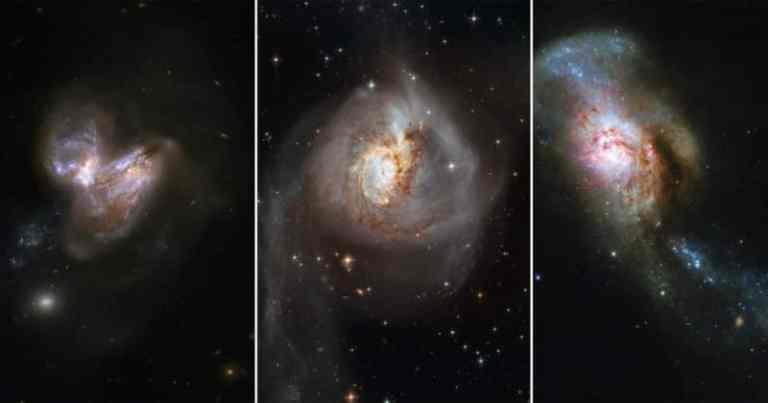 Seis fotos incríveis que mostram fusões de galáxias