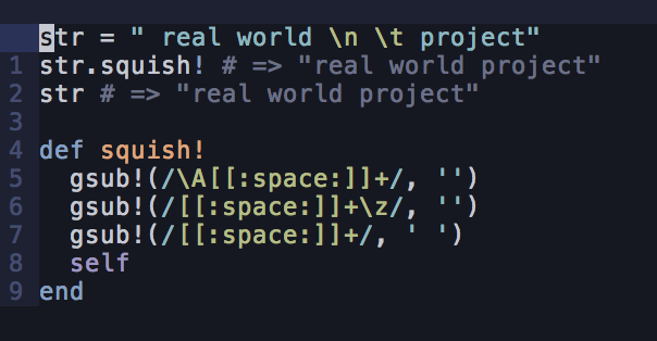 Remove all whitespace in your strings with the squish method
