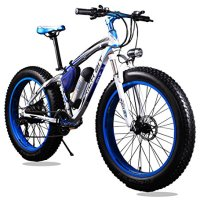 New Updated Electric Bike Blue White TP12 36V 350W Lithium Battery Electric Mountain Bicycle with Shimano 21 Speeds Fat Tire Suspension Fork for Snow Beach Off Road