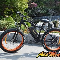 "Addmotor® MOTAN 26"" Fat tire Electirc Bicycle Electirc Bike 500W 8fun Bafang Rear Hub Motor 48V/10.4AH SAMSUNG Lithium battery Fork Suspension Mountain Bike Mountain Bicycle 7 Speed Shimano Gears Brake Disk Aluminium-Alloy 4 Inch Tires E-Bike (Orange/Matte Black)"