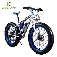 RICH BIT TP012 Electric Fat Bike Mountain Bicycle Snow Bike Cruiser Ebike 350W Motor 36V Lithium Battery Dual Brakes with Shimano 21 Speeds System 20''4.0 inch Fat Tire Suspension Fork BLUE