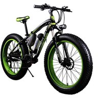 RICH BIT TP012 Electric Fat Bike Mountain Bicycle Snow Bike Cruiser Ebike 350W Motor 36V Lithium Battery Dual Brakes with Shimano 21 Speeds System 20''4.0 inch Fat Tire Suspension Fork Green