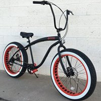 SIKK Fat Tire Beach Cruiser Bicycle 7 Speed Flat Black Red Wheels Whitewall