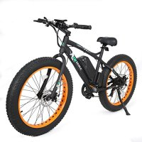 Fat Tire Electric Bike Beach Snow Bicycle 4.0 inch Fat Tire ebike 500W Electric Mountain Bicycle with Shimano 7 Speeds Black/Orange Lithium Battery Electric Mountain Bicycle