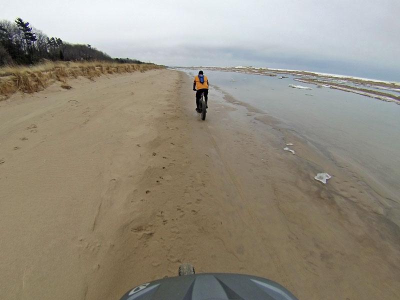 Grand Haven Fat Bike Beach Ride Fat Tire Tracks