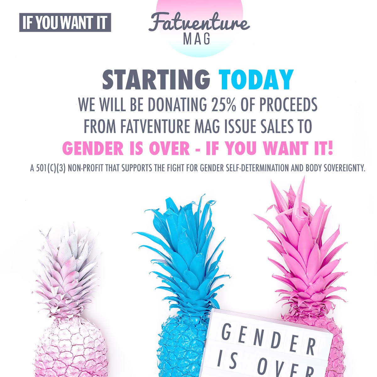 Fatventure Mag is partnering with Gender Is Over - If You Want It!, LTD to support trans rights