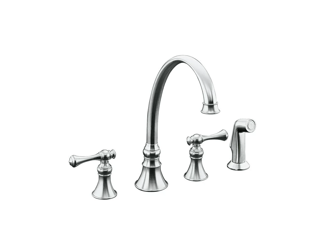Kohler K 4a Double Handle Kitchen Faucet With Metal