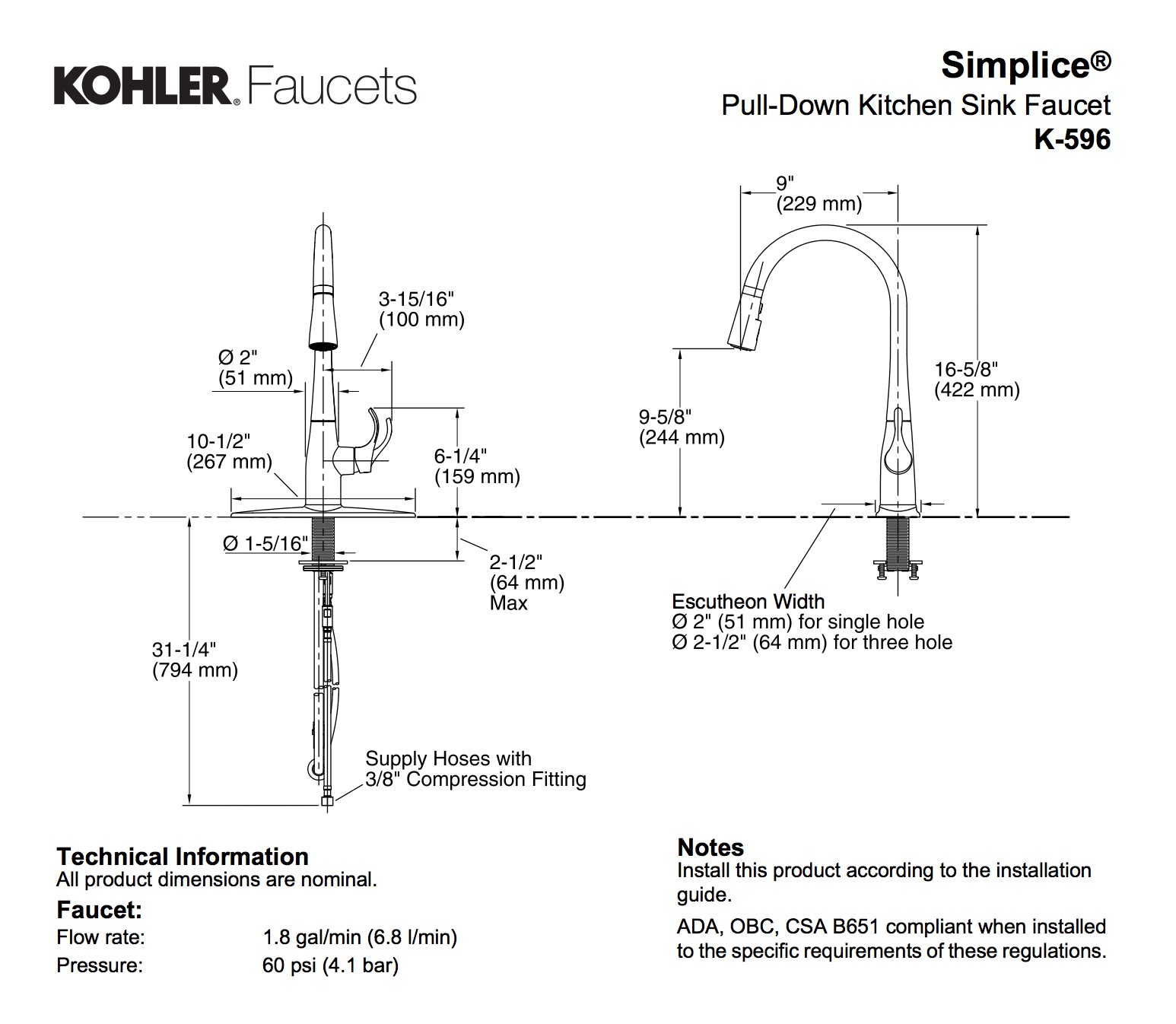 Kohler K 596 Cp Simplice Single Hole Pulldown Kitchen Faucet Polished Chrome