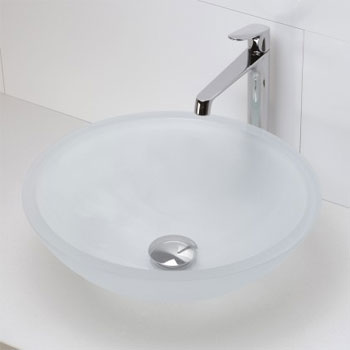 decolav 1019t fcr round 19mm glass vessel sink frosted crystal