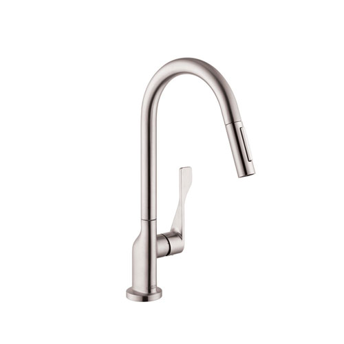 hansgrohe 39835801 axor citterio kitchen faucet with 2 spray pull out steel optik