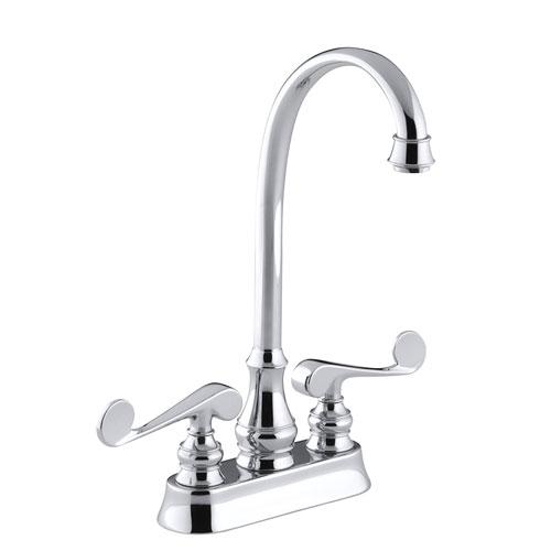 kohler k 16112 4 cp revival entertainment bar sink faucet with scroll lever handles chrome