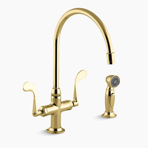 kohler k 8763 pb essex kitchen sink faucet w wristblade handles and sidespray polished brass
