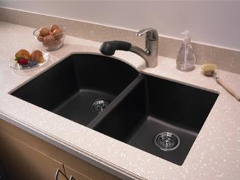 Swanstone QUDB 3322 077 Granite Undermount Double Bowl Kitchen Sink Nero