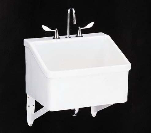 kohler k 12794 0 hollister utility sink with three hole faucet drilling white faucet not included